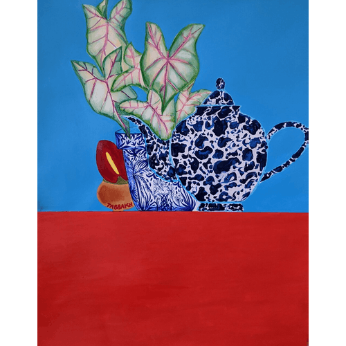 Teapot and Alocasia by Cathy Tabbakh