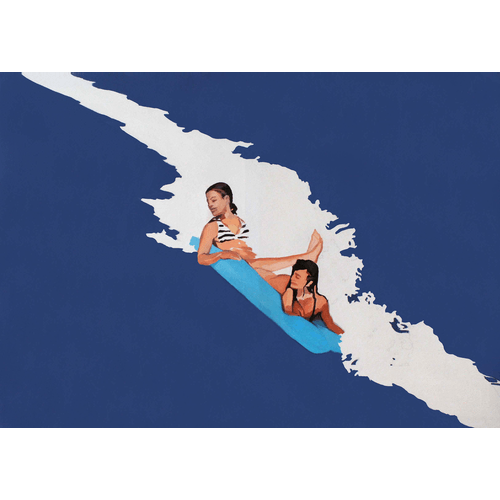 Girls and a wave by Julita Malinowska