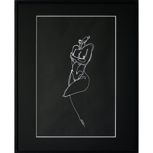 Nude on black paper 004 by Martin Tardy