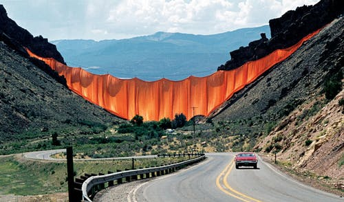 Christo and Jeanne-Claude Valley Curtain, Rifle, Colorado, 1970-72.