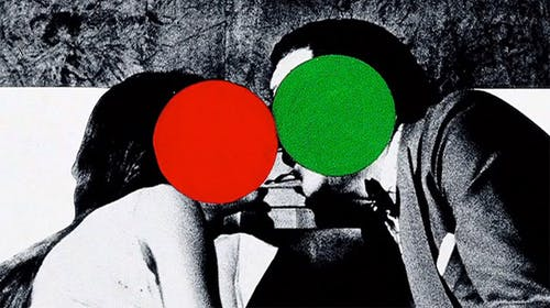 John Baldessari, The Kiss, found image overlaid with colorful dots.