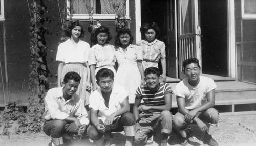 Ruth (back row, far right) with friends at Rohwer Relocation Center, 1943, Image via Ruthasawa.com
