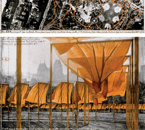"""Christo The Gates (Project for Central Park, New York City) Drawing 2001 in two parts Pencil, charcoal, pastel, wax crayon, enamel paint and aerial photograph 15 x 65"""" and 42 x 65"""" (38 x 165 cm and 106.6 x 165 cm)."""