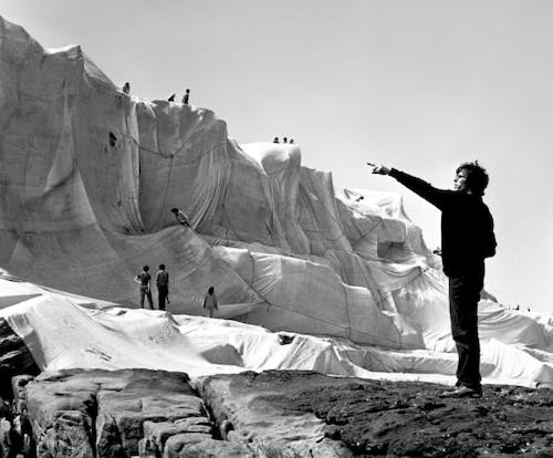 Christo directing work at Wrapped Coast 1969.