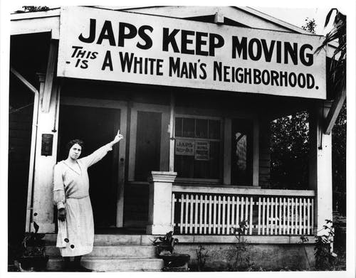 A sign displaying the anti-Japanese sentiment of the 1940s.