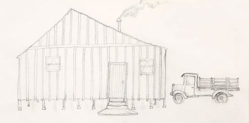 th's sketch of her home in Norwalk from memory, 1985. Photo by Hudson Cuneo.