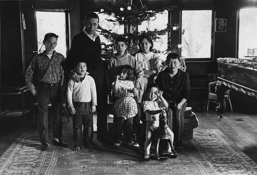 Asawa-Lanier family in their living room, Christmas 1962.