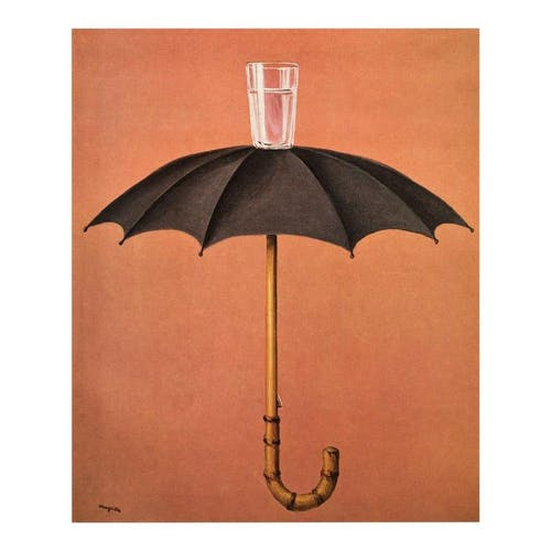 A painting depicting an umbrella and a glass of water on an orange background by René Magritte.