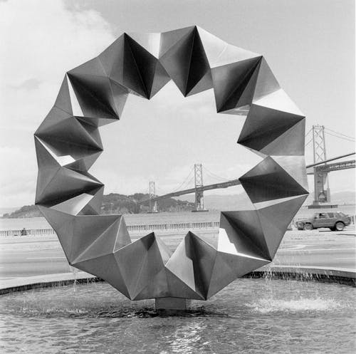 """Asawa's """"Aurora Fountain"""" at Bayside Plaza in San Francisco. It is 13 feet in diameter and made of stainless steel. Photo by Hudson Cuneo."""