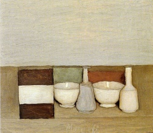 Giorgio Morandi, Natura morta, 1954, Oil on canvas. 26 x 70 cm.
