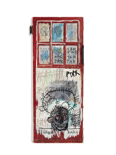 Acrylic, oil and oilstick on glass and wood with fabric and metal attachments, 83 ¼ x 33 ⅞ x 3in.