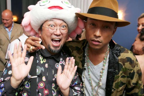 Pharell Williams and Pharell Willimans & Takashi Murakami at the presentation of their sculpture
