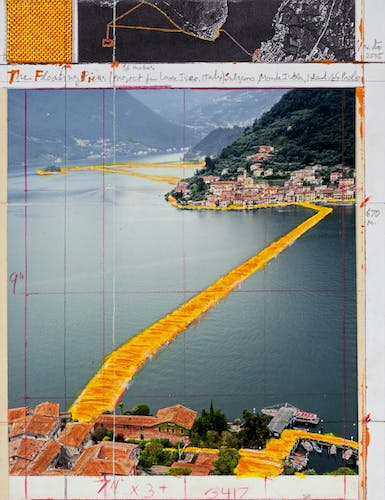 """Christo The Floating Piers (Project for Lake Iseo, Italy) Collage 2015 Pencil, wax crayon, enamel paint, photograph by Wolfgang Volz, aerial photograph and fabric sample 11 x 8 1/2"""" (28 x 21.5 cm)."""