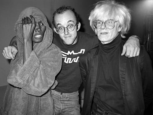 Grace Jones, Keith Haring and Andy Warhol at Paradise Garage, New York, 1983.
