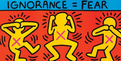 Keith Haring, Ignorance = Fear, 1989.