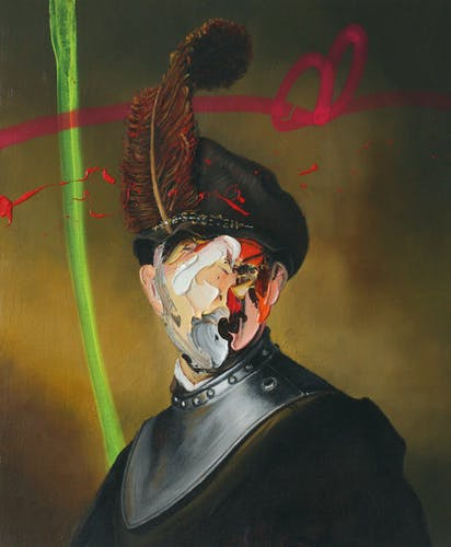 Frans Smit, AFTER SARGENT, MAN IN MILITARY UNIFORM III, 2020, Oil and Spraypaint on Canvas 50.5 × 60 cm 19 3/4 × 23 1/2 in.
