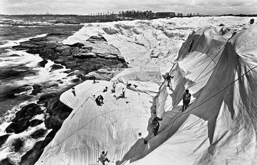 Christo and Jeanne-Claude Wrapped Coast, One Million Square Feet, Little Bay, Sydney, Australia, 1968-69.