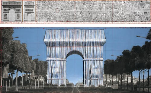 """Christo L'Arc de Triomphe, Wrapped (Project for Paris) Place de l'Etoile – Charles de Gaulle Drawing 2019 in two parts Pencil, charcoal, pastel, wax crayon, enamel paint, technical data, map and tape 15 x 96"""" and 42 x 96"""" (38 x 244 cm and 106.6 x 244 cm)."""