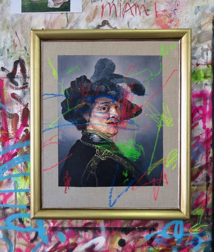 Frans Smit, AFTER REMBRANDT, TRONIE OF A MAN WITH A FEATHERED BERET, 2020 Oil and Pastel on Linen, Framed 55 × 66.5 cm 21 5/8 × 26 1/8 in.