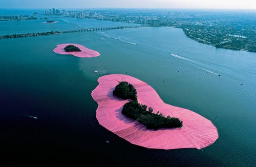 Christo and Jeanne-Claude Surrounded Islands, Biscayne Bay, Greater Miami, Florida, 1980-83.