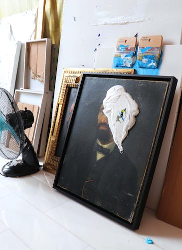 Works standing to dry in the studio of Golsa Golchini.