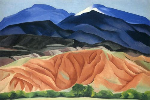 A rendition of the New Mexican landscape by Georgia O'Keeffe.