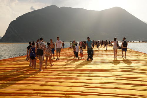 Christo and Jeanne-Claude The Floating Piers, Lake Iseo, Italy, 2014-16.