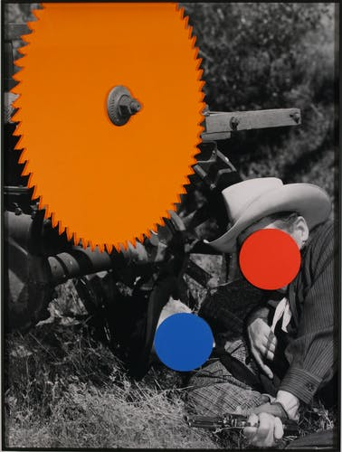 Another one of John Baldessari film stills with colour dots and surfaces.