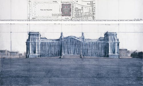 """Christo Wrapped Reichstag (Project for Berlin) Drawing 1979 in two parts Pencil, charcoal, pastel, wax crayon and map 15 x 96"""" and 42 x 96"""" (38 x 244 cm and 106.6 x 244 cm)."""
