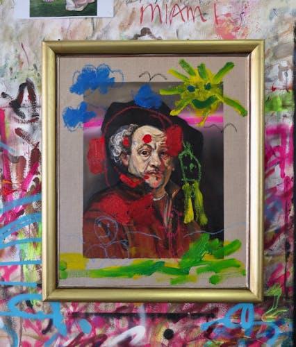 Frans Smit, AFTER REMBRANDT, SELF PORTRAIT, 2020 Oil and Pastel on Linen, Framed 55 × 66.5 cm 21 5/8 × 26 1/8 in.