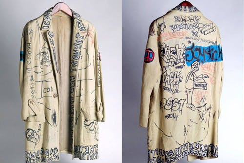 One of Basquiat's hand painted clothing pieces.