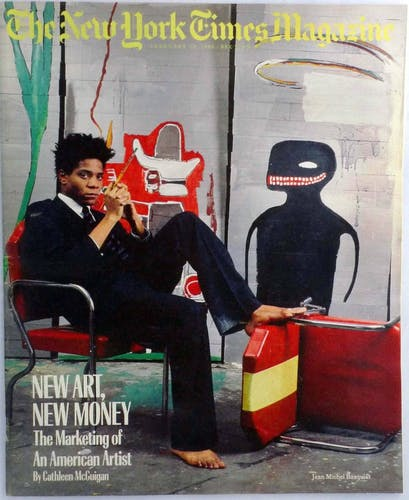 Basquiat on the cover of the New York Times Magazine for an article titled New Art, New Money.