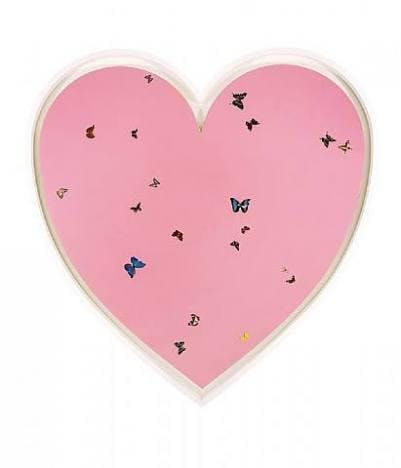 A custom made heart shaped artwork by Damien Hirst