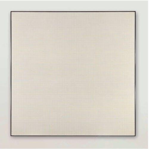 Agnes Martin, Orange Grove, 1965, oil and graphite on canvas.
