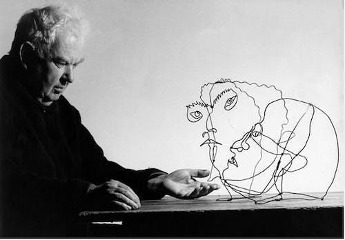 "Alexander Calder with ""Edgar Varese"" and ""Untitled"", Saché, France, Gelatin silver print, 1963 Courtesy Ugo Mulas Archives © Ugo Mulas Heirs."
