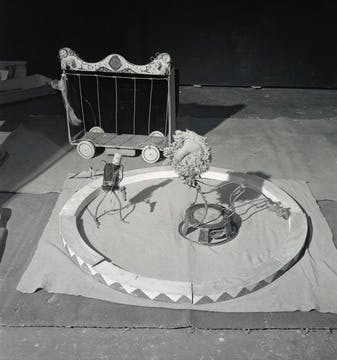 Lion Tamer and Lion from Cirque Calder (1926–31), 1943  Photograph by Herbert Matter via Calder Foundation.