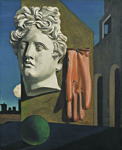 a surrealistic painting by Giorgio de Chirico depicting the head of a statue a glove and a bal.