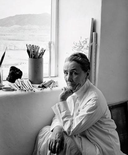 Georgia O'keeffe in her home studio, Amon Carter Museum of American Art.