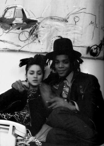 Basquiat with Madonna at his studio.