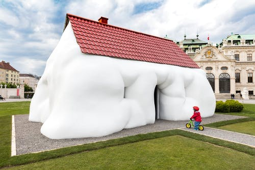 Erwin Wurm's Fat House, 2003, outside the Belvedere in Vienna.