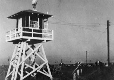 Guard tower at Rohwer Relocation Center. Photo courtesy of the National Japanese American Historical Society