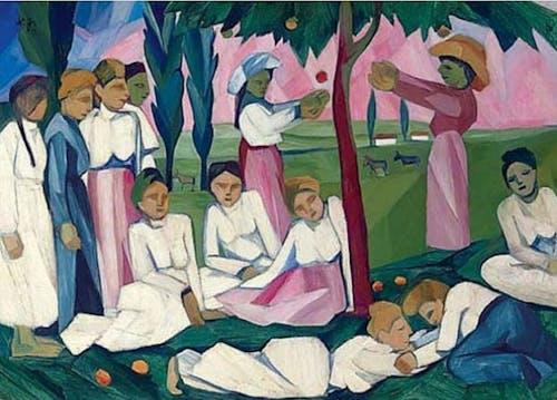Natalia Goncharova, Picking Apples, ca 1909, Oil on Canvas.