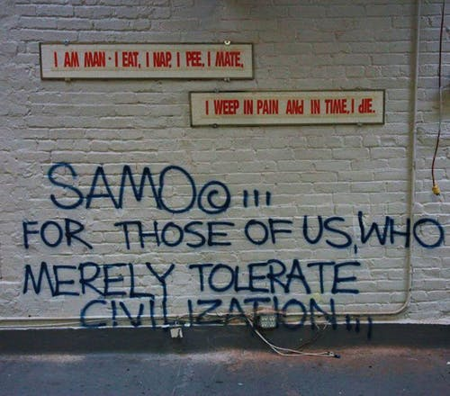 One of the many SAMO tags around downtown Manhatten.