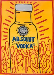Keith Haring's add for Absolut Vodka, 1986.