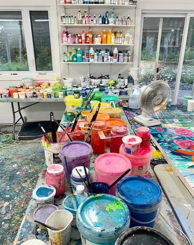 A colourful table inside the studio of Claire Desjardins.