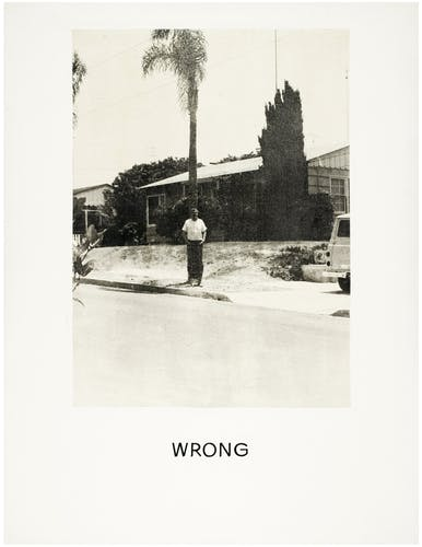 Baldessari often used photographs with inetntionally wrong composition.