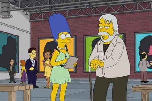 Baldessari's character is being interviewed by Meg Simpson on this Simpson episode.