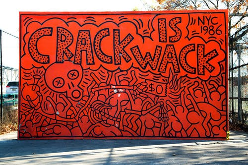 Keith Haring, Crack is Whack Mural, 1986 via Getty Images.