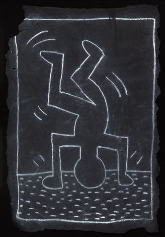 One of Keith Haring's subway drawings featuring a breakdancing figure.