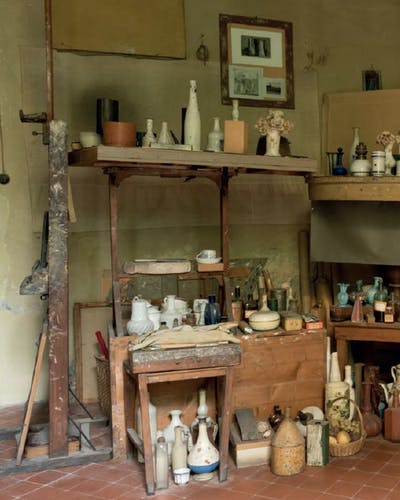Inside the studio of Giorgio Morandi.